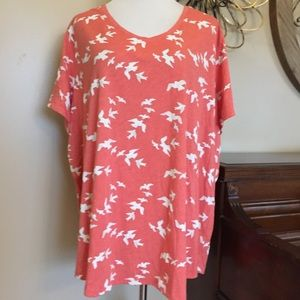 NWT Sonoma Size 4X Bird Print Coral Tee Top